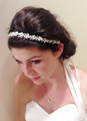 pearl and crystal head band