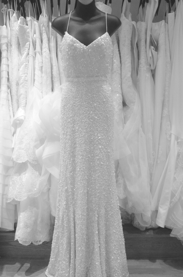 Anya white sequin sheath wedding dress by Karen Willis Holmes