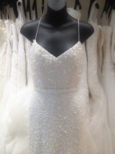 white beaded sequin wedding gown by Karen Willis Holmes