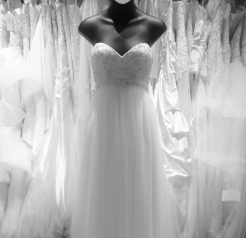 Empire waist wedding dress with beaded bodice and soft netting skirt