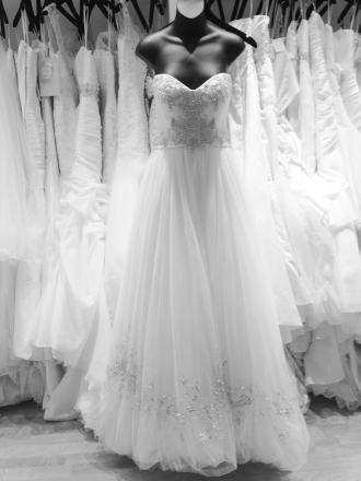 Ballgown wedding dress with beaded bodice by Casablanca
