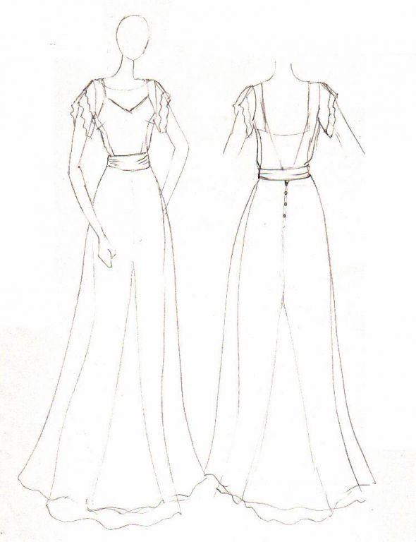 Gallery For gt Wedding Dress Silhouettes Drawing